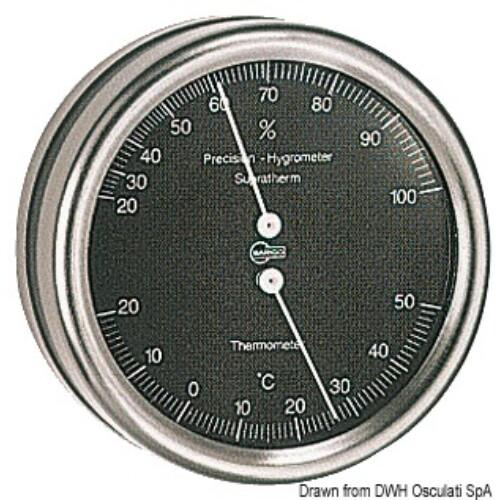Hőmérséklet és Páratartalom mérő 102mm  fekete számlappal