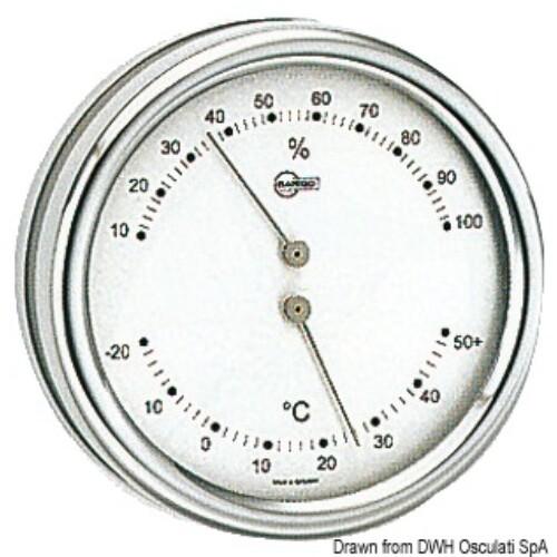 Hőmérséklet és Páratartalom mérő crom 102mm fehér számlappal