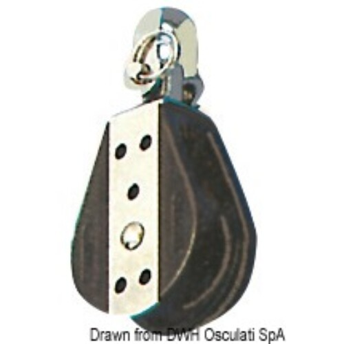 Csiga - Ball-bearing block 1 pulley fixed/swivel 6x22mm