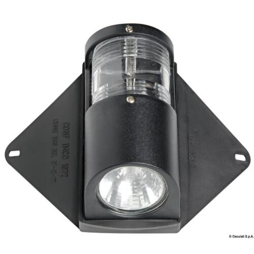 Deck lámpa fekete, navigációs fénnyel, halogén 35W OSC