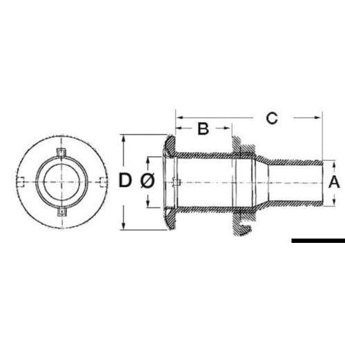 """Rozsdamentes vízkifolyó AISI 316 1/2"""" x18mm"""