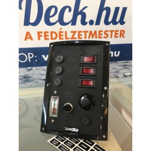 Kapcsolótábla SEAWORLD  fekete 12v  3 kapcsolós,voltmérővel