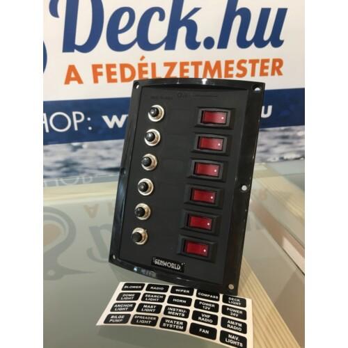 Kapcsolótábla SEAWORLD fekete 12v  6 kapcsolós  biztosítékkal