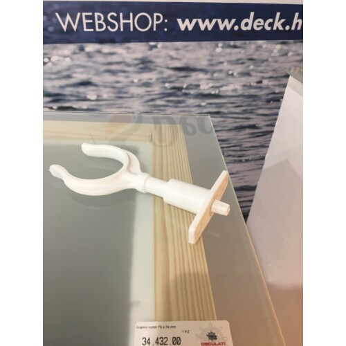 Evezővilla foglalattal 15x34 mm fehér műanyag